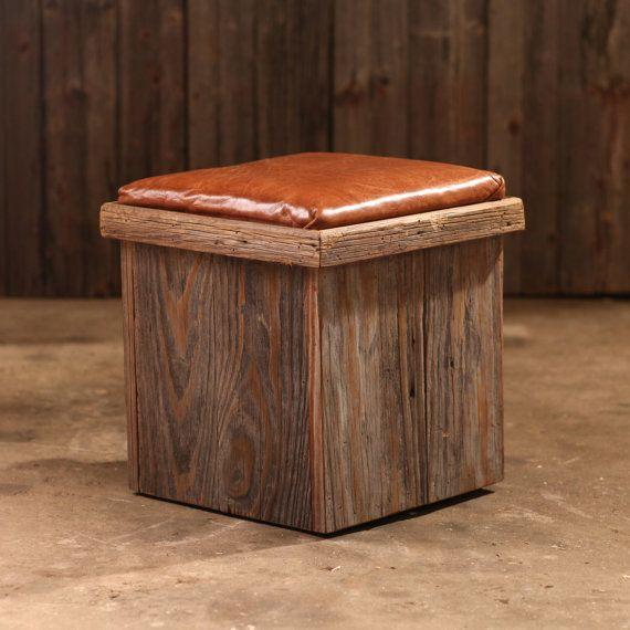 """Leather and wood are the key ingredients for a cozy, cabiny home vibe. <a href=""""https://www.etsy.com/listing/223742251/ottoman-leather-and-reclaimed-barn-wood"""" target=""""_blank"""">Shop it here</a>."""