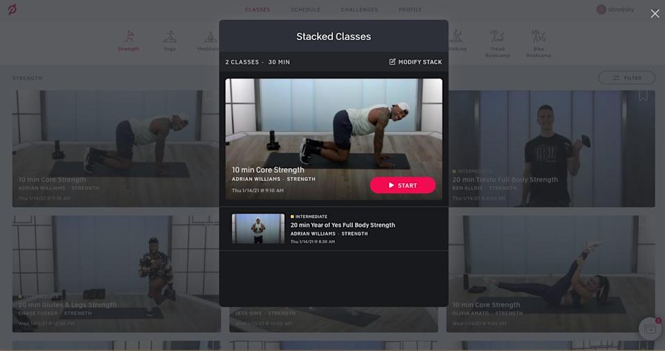 Peloton's stack feature