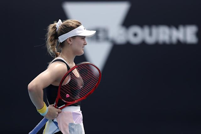 Eugenie Bouchard complained of a sore chest in her match on Tuesday Photo: Getty Images