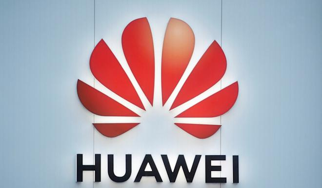 The Huawei Technologies logo in Davos, Switzerland, on Wednesday. Photo: Reuters