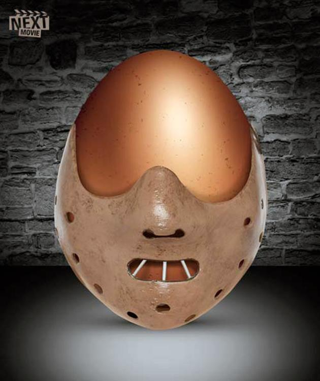 "OK, so the gang at NextMovie cheated a bit and had an artist draw this ""Silence of the Lambs"" egg rather than decorate a real one, but it's pretty cool nonetheless. They've got a few more like it here ."