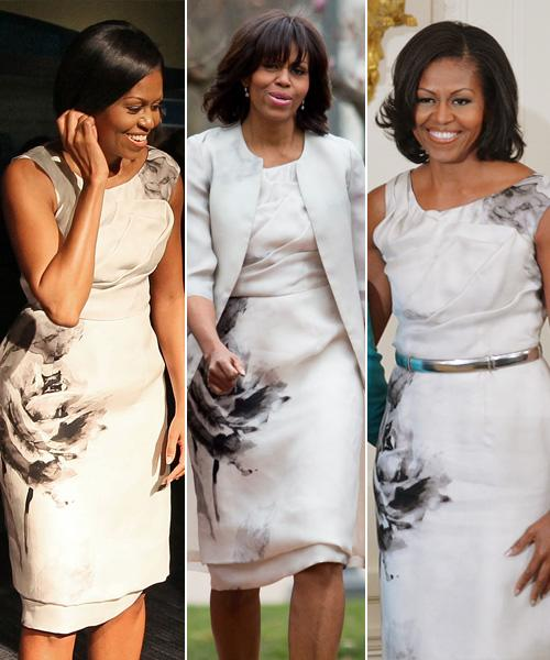 """<div class=""""caption-credit""""> Photo by: Getty Images</div><div class=""""caption-title""""></div><b>Prabal Gurung floral dress and matching coat</b> <br> We knew Michelle Obama's Easter getup (center) looked familiar. She wore the same dress when hosting former President George W. Bush and First Lady Laura Bush at the White House in June 2012 (right), and to the Smithsonian National Museum of American History in March 2010 (left). Prabal Gurung may be a fairly well-known designer now, after his recent Target collaboration sold out immediately, but he can thank Michelle Obama for putting him on the map back in 2010. <br>"""