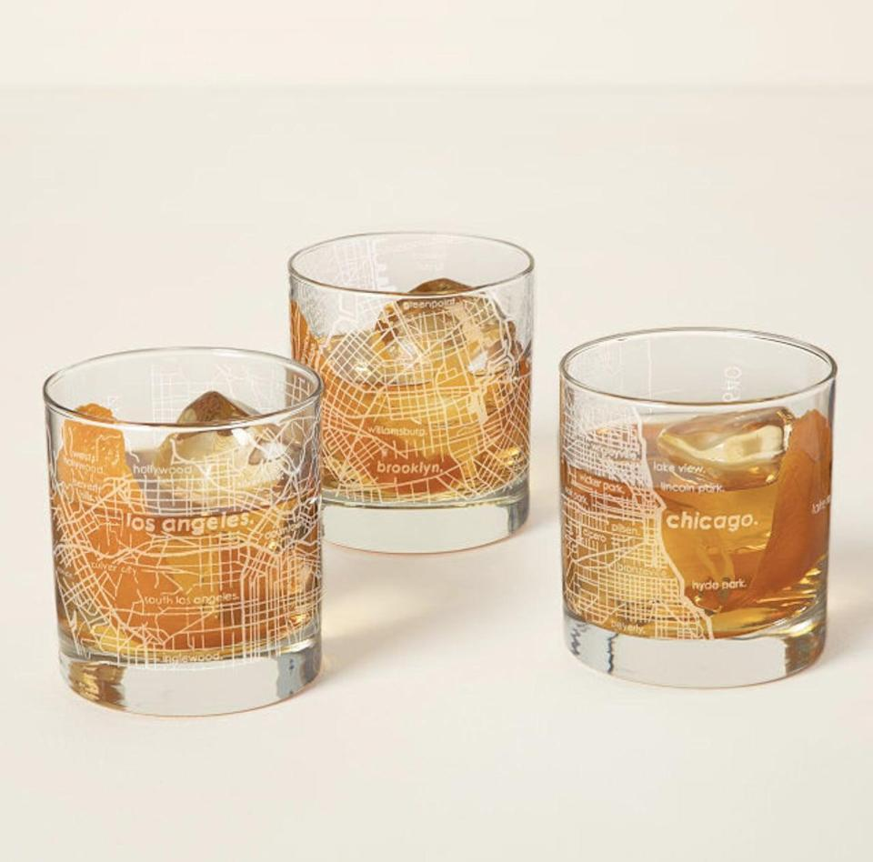 <p>Give them an <span>Urban Map Glass</span> ($18 each) that represents their home state, and make them smile. It will transport them to some hopefully heartwarming memories.</p>