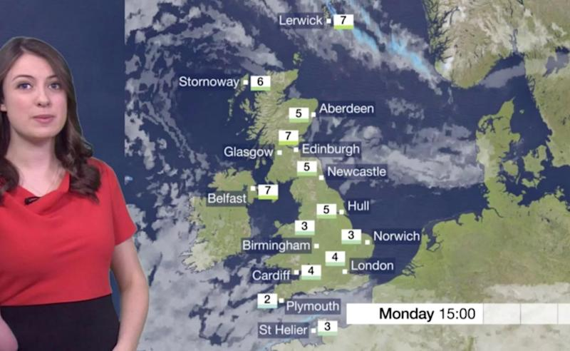 The BBC weather graphic, which show much of Europe