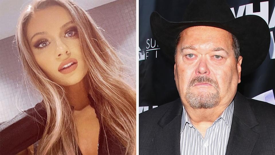 A 50-50 split image shows wrestler Anna Jay on the left and Jim Ross on the right.