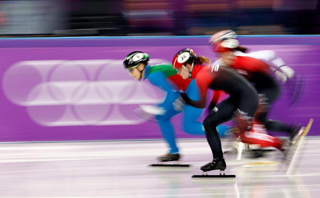 "Short Track Speed Skating Events - Pyeongchang 2018 Winter Olympics - Women's 1000m Semifinals - Gangneung Ice Arena - Gangneung, South Korea - February 22, 2018 - Arianna Fontana of Italy, Kim Boutin of Canada, Valerie Maltais of Canada and Kim A-lang of South Korea in action. REUTERS/Damir Sagolj SEARCH ""OLYMPICS BEST"" FOR ALL PICTURES. TPX IMAGES OF THE DAY."