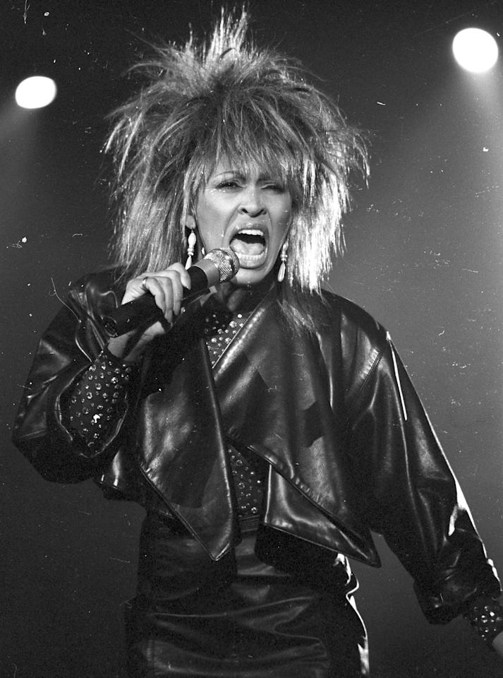 <p>Tina Turner performs on a TV show wearing a black leather jacket on May 2, 1984 in Los Angeles, California. Her hair truly defies gravity.</p>