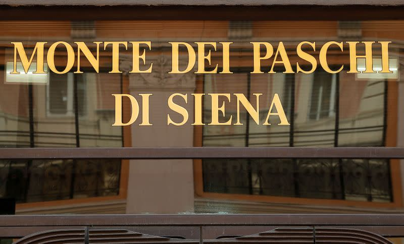 FILE PHOTO: A sign of the Monte dei Paschi bank is seen in Rome