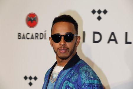Lewis Hamilton arrives for the TIDAL X benefit concert in New York