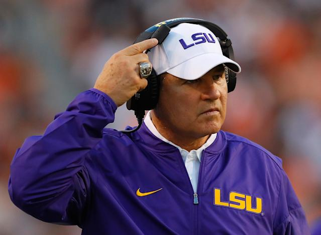 "Head coach Les Miles of the LSU Tigers looks on during the game against the <a class=""link rapid-noclick-resp"" href=""/ncaab/teams/abb/"" data-ylk=""slk:Auburn Tigers"">Auburn Tigers</a> at Jordan-Hare Stadium on September 24, 2016 in Auburn, Alabama. (Getty Images)"