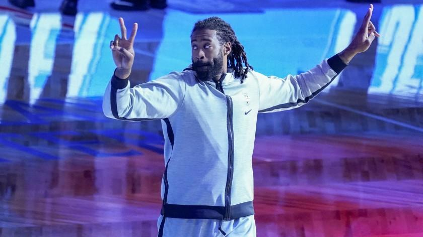 Brooklyn Nets center DeAndre Jordan holds gestures while being introduced before the start of an NBA basketball game against the Portland Trail Blazers, Friday, April 30, 2021, in New York. (AP Photo/Mary Altaffer)