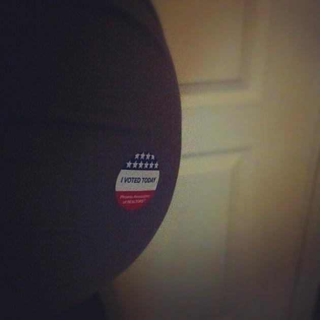 We voted today... and the volunteers were excited to see some baby bump. :D  - @surefirephoto, via Twitter