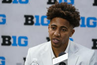Indiana's Rob Phinisee speaks during the Big Ten NCAA college basketball media days in Indianapolis, Friday, Oct. 8, 2021. (AP Photo/Michael Conroy)