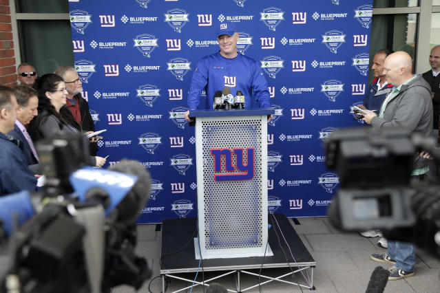 New York Giants head coach Pat Shurmur speaks to reporters before a NFL football training camp in East Rutherford, N.J., Tuesday, April 24, 2018. (AP Photo/Seth Wenig)