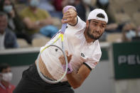 Italy's Matteo Berrettini serves toKorea's Soonwoo Kwon during their third round match on day 7, of the French Open tennis tournament at Roland Garros in Paris, France, Saturday, June 5, 2021. (AP Photo/Christophe Ena)