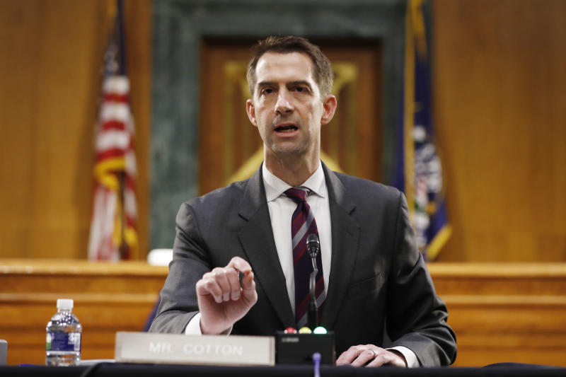 FILE - In this May 5, 2020, file photo Sen. Tom Cotton, R-Ark., speaks during a Senate Intelligence Committee nomination hearing for Rep. John Ratcliffe, R-Texas, on Capitol Hill in Washington. Cotton wrote in a New York Times op-ed Tuesday, June 2, that local law enforcement needs the backup of active-duty military forces to tamp down unrest in the U.S. (AP Photo/Andrew Harnik, Pool, File)