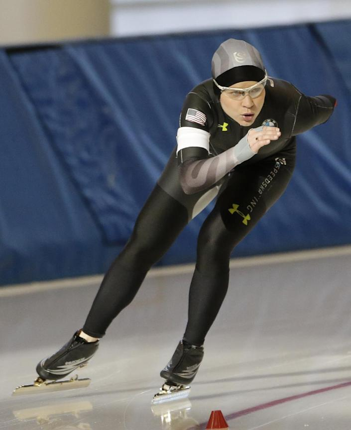 Speedskater Bridie Farrell competes in the 1000-meter during the Long Track American Cup Final North American Championship, Friday, March 1, 2013, in Kearns, Utah. U.S. Speedskating began an investigation Friday into the report of a female skater accusing former Olympian and organization president Andy Gabel of sexual abuse in the 1990s. Farrell told public radio station WUWM in Milwaukee that she had sexual contact with Gabel repeatedly over several months in 1997 and 1998 while both were training in New York and Michigan. When the alleged abuse began, she was 15 and Gabel was 33. (AP Photo/Rick Bowmer)