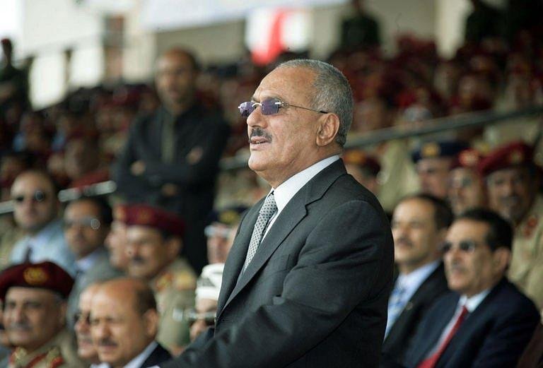 Yemeni President Ali Abdullah Saleh attends a military parade on the national day of Yemen's unity on May 21, in Sanaa. A Gulf mediator flew out on Sunday after failing to secure Saleh's signature on a transition deal for him to quit office, although his ruling party signed the accord