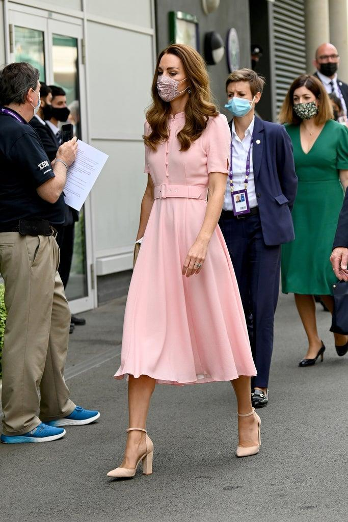 LONDON, ENGLAND – JULY 11: HRH Catherine, the Duchess of Cambridge attends Wimbledon Championships Tennis Tournament at All England Lawn Tennis and Croquet Club on July 11, 2021 in London, England. (Photo by Karwai Tang/WireImage)