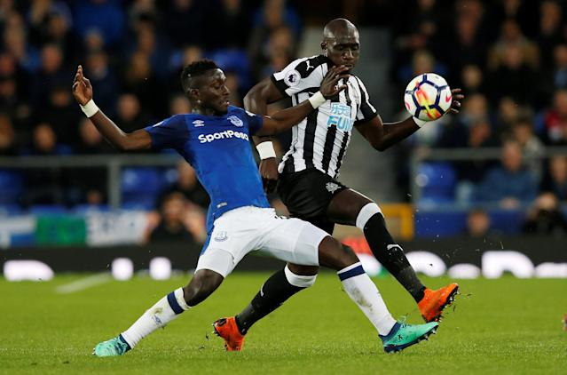 "Soccer Football - Premier League - Everton v Newcastle United - Goodison Park, Liverpool, Britain - April 23, 2018 Everton's Idrissa Gueye in action with Newcastle United's Mohamed Diame REUTERS/Andrew Yates EDITORIAL USE ONLY. No use with unauthorized audio, video, data, fixture lists, club/league logos or ""live"" services. Online in-match use limited to 75 images, no video emulation. No use in betting, games or single club/league/player publications. Please contact your account representative for further details."