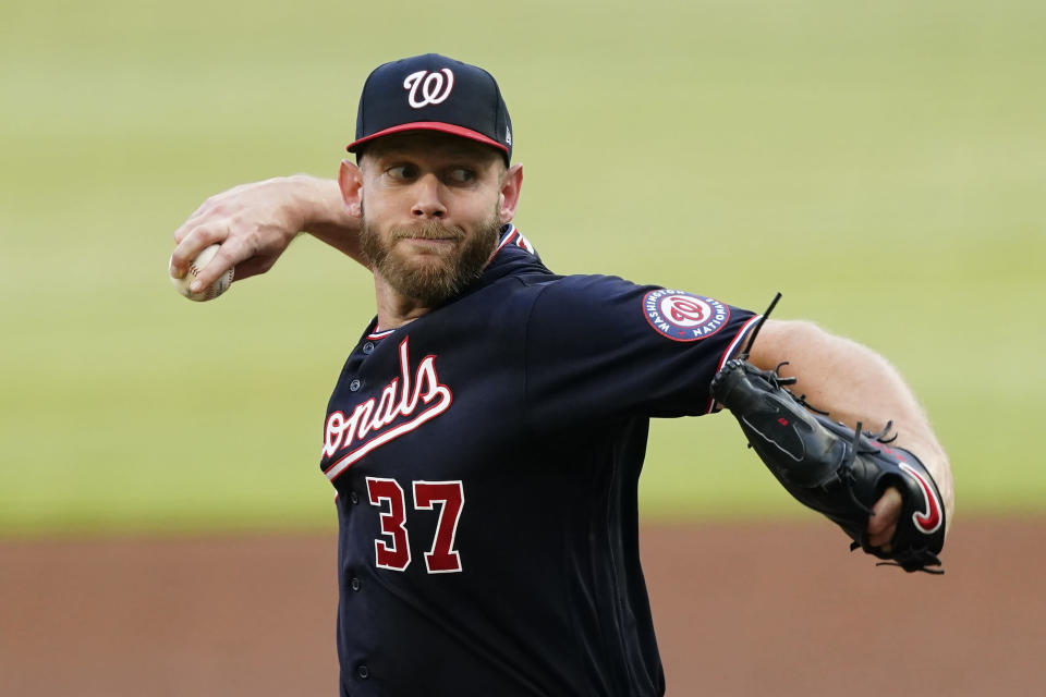 FILE - In this June 1, 2021, file photo, Washington Nationals starting pitcher Stephen Strasburg delivers in the first inning of a baseball game against the Atlanta Braves in Atlanta. Strasburg felt some discomfort in his neck after a recent bullpen session, and Washington manager Dave Martinez said Friday, July 23, 2021, the team is trying to figure out what to do next. (AP Photo/John Bazemore, File)