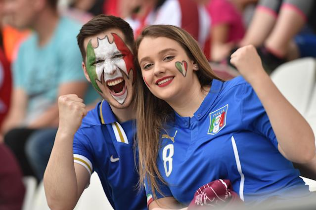 Fans of Italy show their support before the 2019 FIFA Women's World Cup France group C match between Jamaica and Italy at Stade Auguste Delaune on June 14, 2019 in Reims, France. (Photo by Tullio M. Puglia/Getty Images)