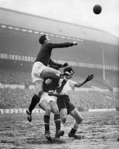 Harry Gregg (left) in action for Manchester United in 1959