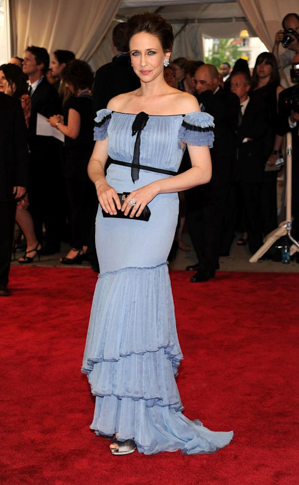 "She may be pregnant, but that doesn't excuse ""Up in the Air"" star Vera Farmiga from donning this disastrous, saloon girl-inspired dress to the biggest fashion event of the year, the annual Costume Institute Gala. Kevin Mazur/<a href=""http://www.wireimage.com"" target=""new"">WireImage.com</a> - May 3, 2010"