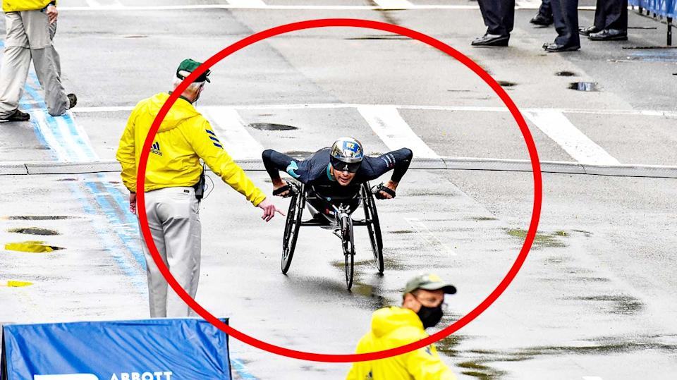 Marcel Hug (pictured) won the Boston Marathon despite turning down the wrong street. (Getty Images)