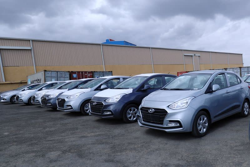 Newly assembled Hyundai cars are parked at the Hyundai Marathon Motor assembly plant on the outskirt of Addis Ababa