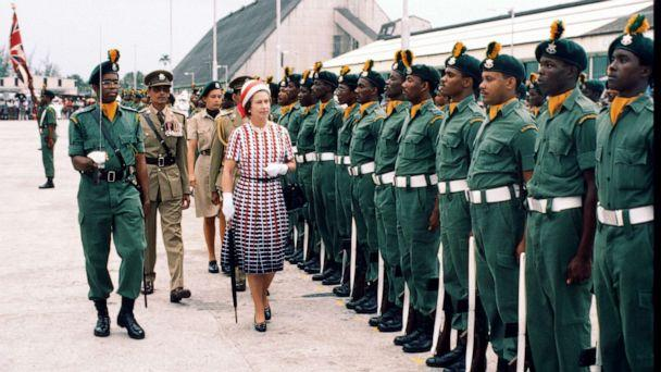 PHOTO: Queen Elizabeth ll inspects a guard of honour as she arrives in Barbados, Oct. 31, 1977. (Anwar Hussein/Getty Images, FILE)