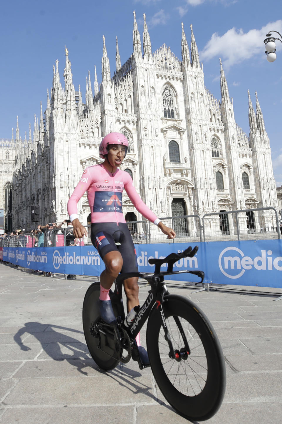 Colombia's Egan Bernal celebrates as he completes the final stage to win the Giro d'Italia cycling race, a 30.3 kilometers individual time trial from Senago to Milan, Italy, Sunday, May 30, 2021. (AP Photo/Luca Bruno)