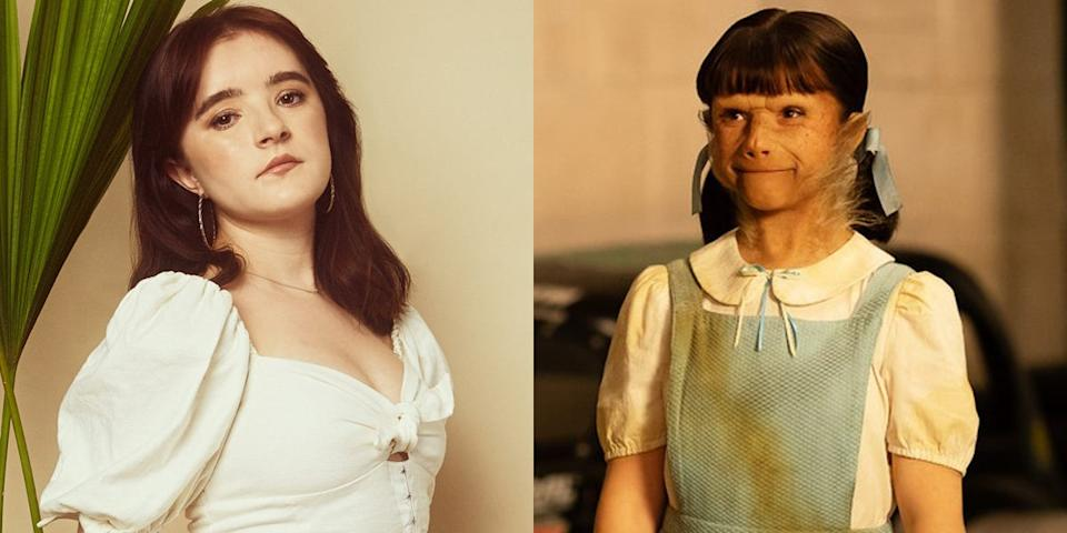 """Abigail Shapiro sat through hours of prosthetics to transform into her """"Doom Patrol"""" character. By the end of production, the team got the process down to under two hours."""