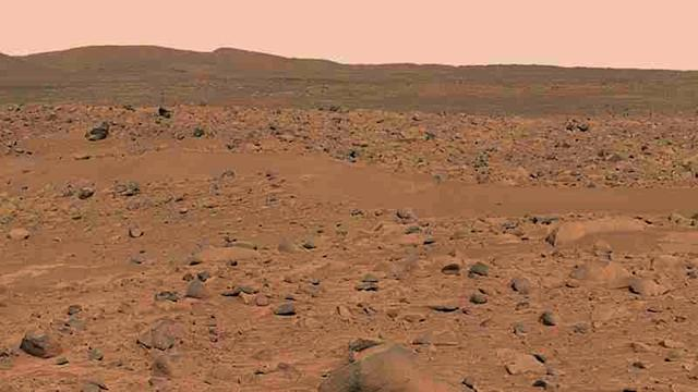 "<p>This image, cropped from a larger panoramic image mosaic taken by the Mars Exploration Rover Spirit panoramic camera, released by NASA March 18, 2004, shows the rover's destination toward the hills nicknamed the ""Columbia Hills."" The rover is currently positioned outside the view of this image, on the right. (Photo: NASA/Cornell/Reuters) </p>"