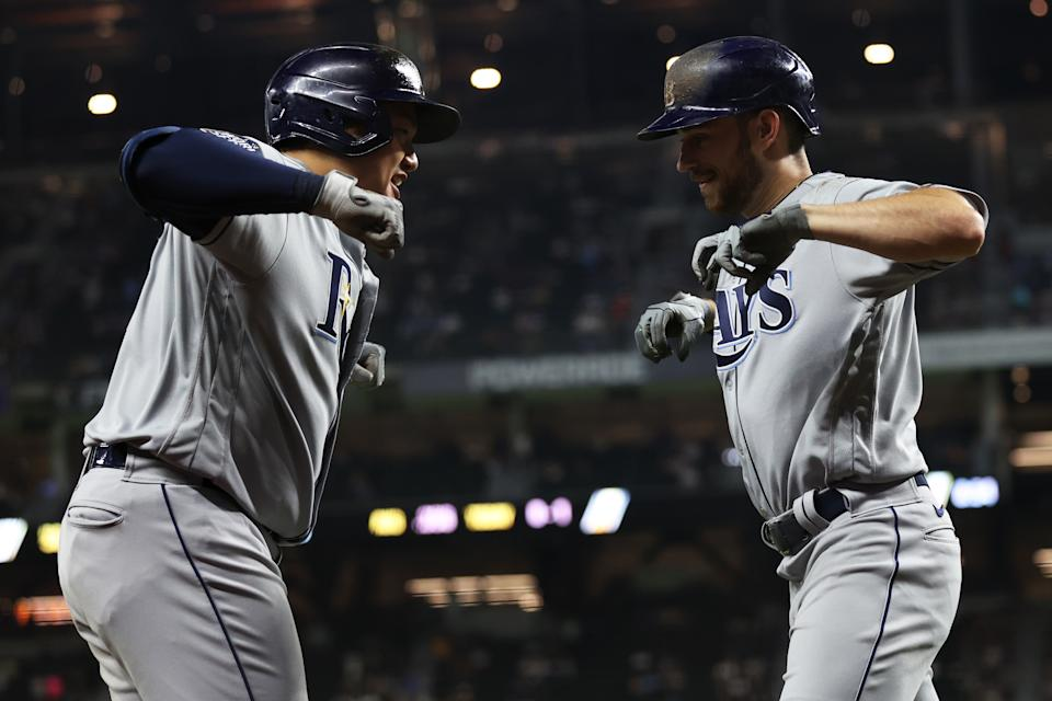 Rays slugger Brandon Lowe awakened with two home runs in Game 2 after a struggle of a postseason. (Photo by Alex Trautwig/MLB Photos via Getty Images)