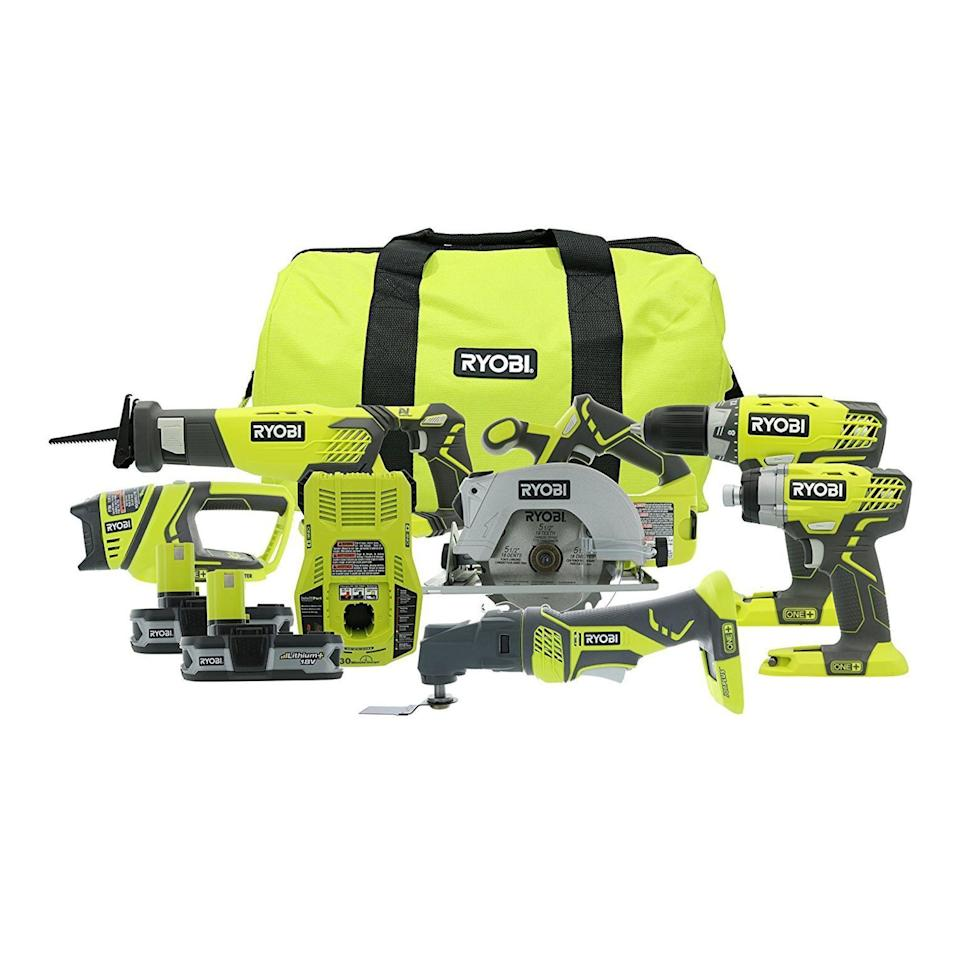 "<p><strong>RYOBI</strong></p><p>homedepot.com</p><p><strong>$199.00</strong></p><p><a href=""https://go.redirectingat.com?id=74968X1596630&url=https%3A%2F%2Fwww.homedepot.com%2Fp%2FRYOBI-18-Volt-ONE-Lithium-Ion-Cordless-6-Tool-Combo-Kit-with-2-Batteries-Charger-and-Bag-P1819%2F309659455&sref=https%3A%2F%2Fwww.redbookmag.com%2Flife%2Fg34807098%2Fbest-black-friday-deals-tools%2F"" rel=""nofollow noopener"" target=""_blank"" data-ylk=""slk:Shop Now"" class=""link rapid-noclick-resp"">Shop Now</a></p><p>If you're putting together a tool kit from scratch to gift, this is a great place to start. For just $200, you get a six, 18-volt, rechargeable tools, including two drivers, two saws, and two batteries—ideal for home maintenance and DIY projects.</p>"