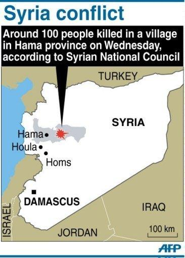 "Graphic showing Hama province in Syria where about 100 people were killed in a ""massacre"" Wednesday, according to the opposition Syrian National Council. A regional group led by Russia and China said it opposed military intervention in the Middle East, a day after the assault"