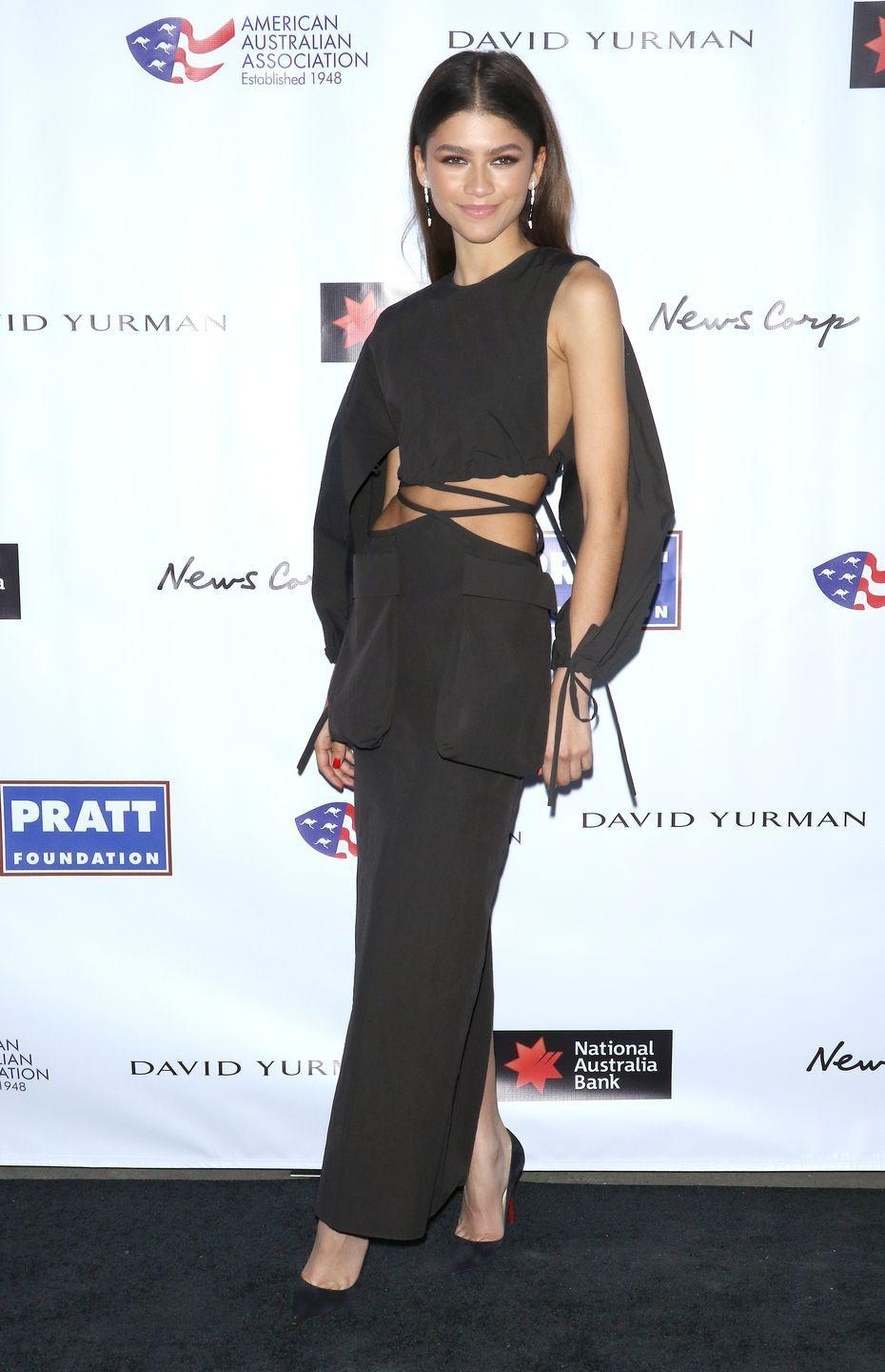 <p>She donned this sleek cutout dress by Christopher Esber at the 2020 AAA Art Awards.</p>