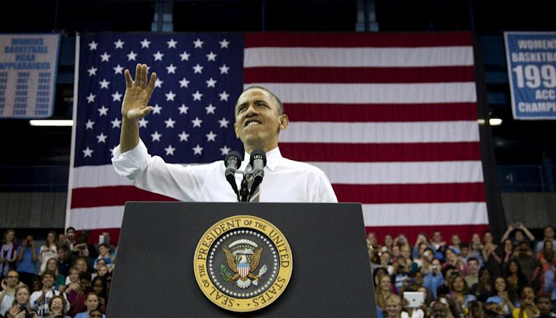 President Barack Obama speaks at the University of North Carolina at Chapel Hill, Tuesday, April 24, 2012. (AP Photo/Carolyn Kaster)