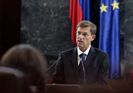 Miro Cerar, leader of the Miro Cerar's Party speaks during a parliament session in Ljubljana