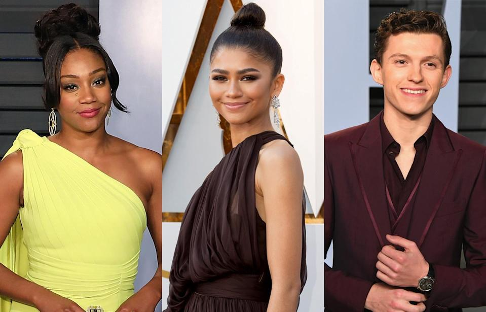 Tiffany Haddish, Zendaya, and Tom Holland attend the 90th Annual Academy Awards. (Photo: Getty Images)