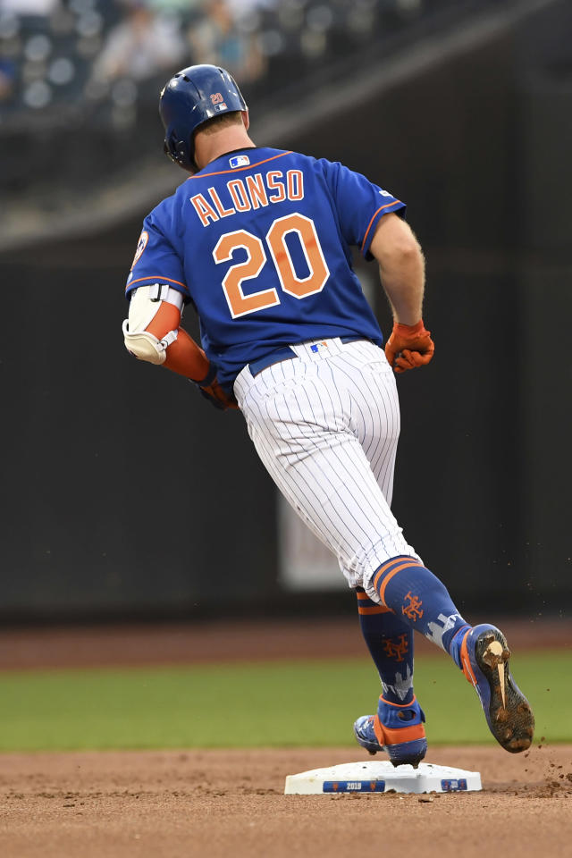 New York Mets' Pete Alonso rounds second base after hitting a home run during the first inning of a baseball game against the Washington Nationals, Monday, May 20, 2019, in New York. (AP Photo/Sarah Stier)
