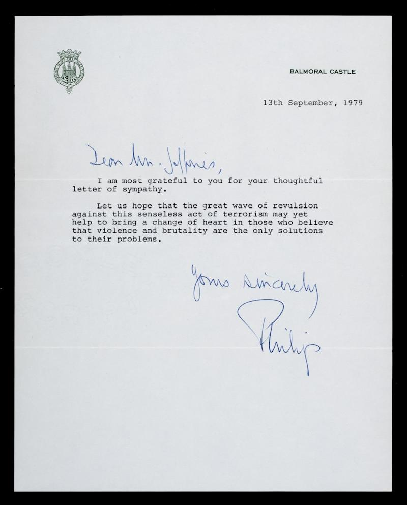 The letter was written to Lionel Jeffries after the murder of Lord Mountbatten. (Dominic Winter Auctions)