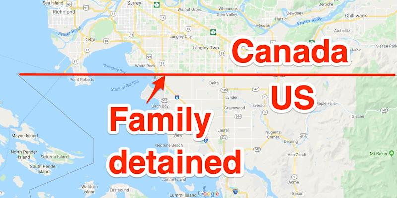 4/3 The location of where the Connors family were taken into custody by CBP agents on October 2 after an illegal border crossing from British Columbia into Washington state.