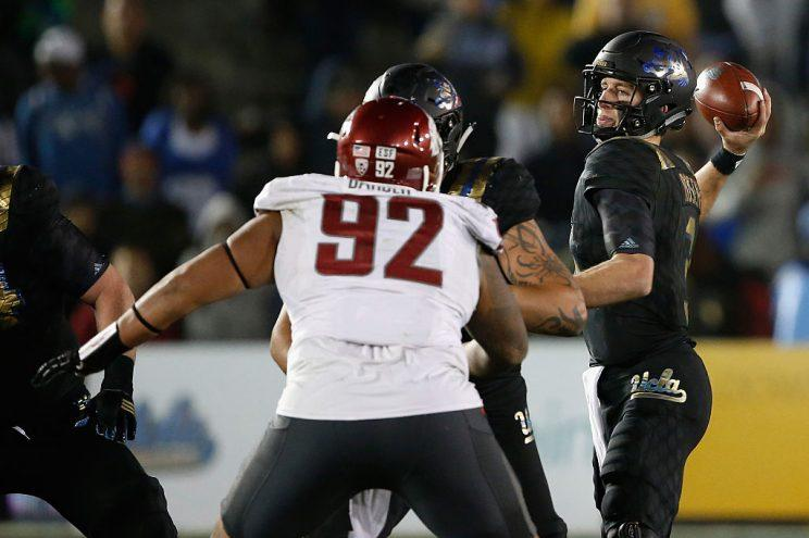 Washington State's Robert Barber (92) had his free agent offer withdrawn by the Panthers. (Getty)