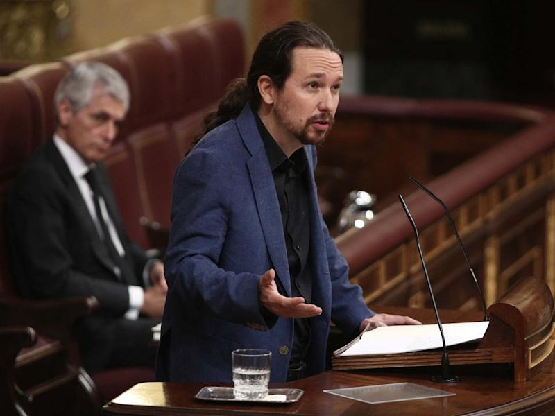 Deputy Prime Minister Pablo Iglesias is seen at the plenary session of control to the Government: Europa Press via Getty Images