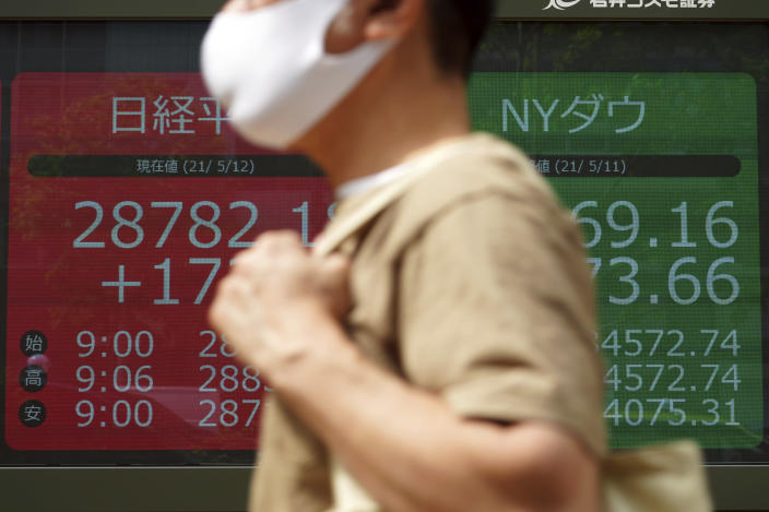 A man wearing a protective mask walks past an electronic stock board showing Japan's Nikkei 225 and New York Dow indexes at a securities firm Wednesday, May 12, 2021, in Tokyo. Asian stock markets retreated Wednesday as investors looked ahead to U.S. data they worry will show inflation is picking up. (AP Photo/Eugene Hoshiko)