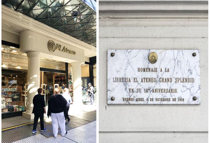 Outside, the former theatre looks like any other bookstore albeit with an elegant façade (left). A marble plaque commemorating the 10th anniversary of El Ateneo Grand Splendid's transformation into a bookstore.