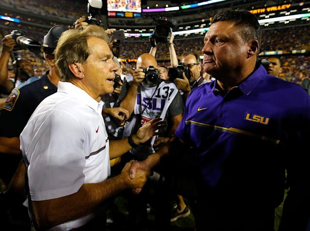 Alabama coach Nick Saban hasn't lost to LSU since his team fell to the Tigers in November of 2011. (Photo by Kevin C. Cox/Getty Images)