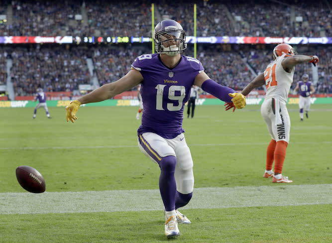 Adam Thielen really took off in variable PPR leagues last year. With Kirk Cousins now tossing him the pill, he could climb even higher. (AP Photo/Matt Dunham)